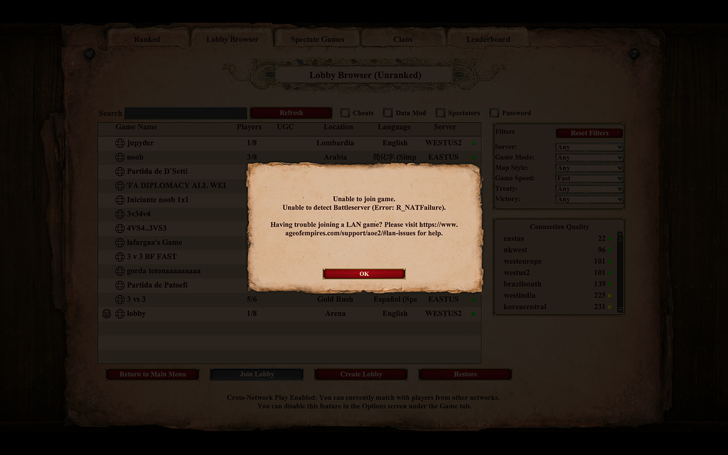 Age of empires 2 setting up multiplayer game crash teddy dupay gambling